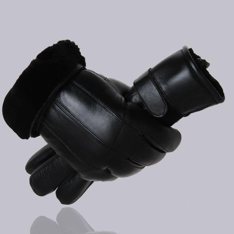 MPPM Hot <font><b>Sale</b></font> Men sheepskin gloves genuine leather glove for men winter Outdoor warm fur thickening thermal patchwork gloves