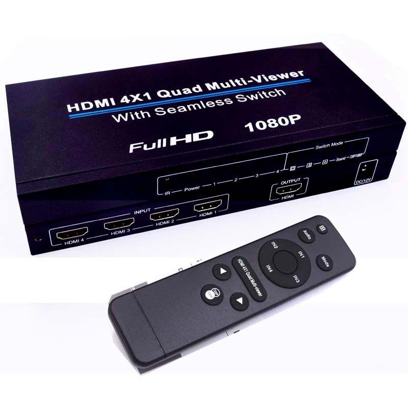 HDMI 4x1 Schalter Quad Multi Viewer Splitter Ultra mit Nahtlose Switcher HD Video 1080 P Konform Mit HDMI 1.3a HDCP 1,2