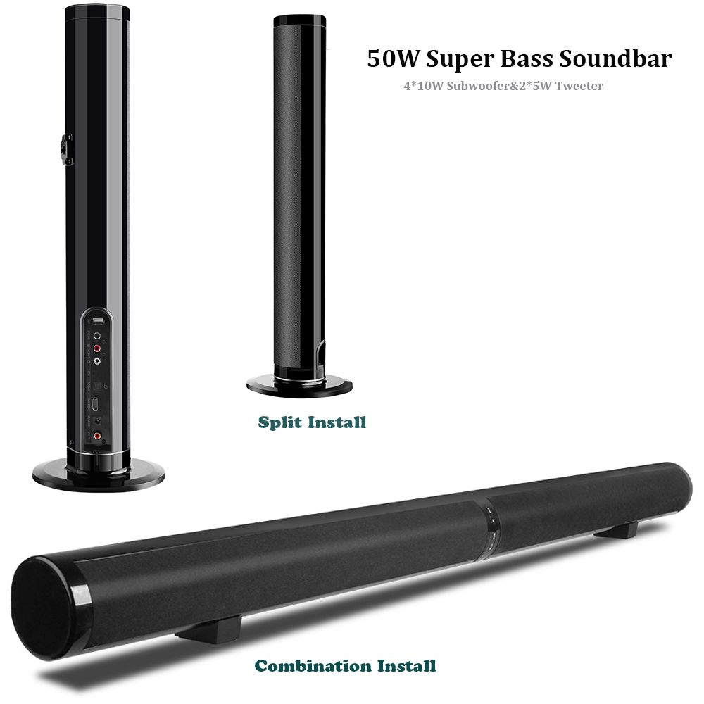 Sound bar, 50 W Starke Bass Trennbar Soundbar mit Dual Membranen Drahtlose Verdrahtete Bluetooth Home Audio Lautsprecher für TV Telefon PC