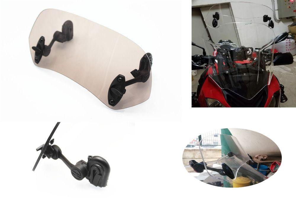 Adjustable Clip On Windscreen Windshield Extension Spoiler Wind Deflector Adjustable Lockable For Motorcycle