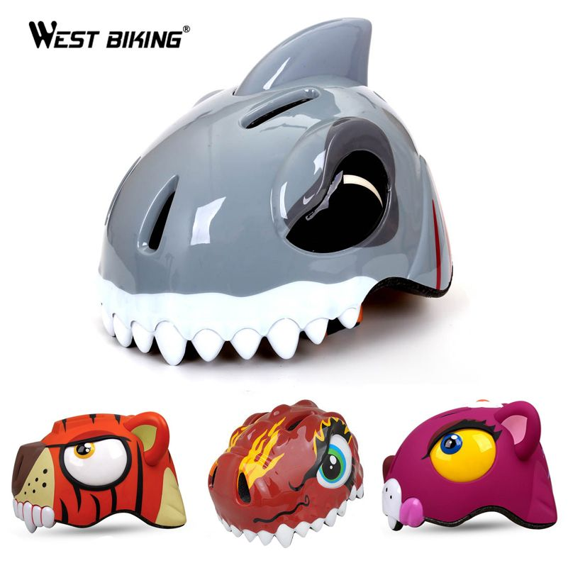 WEST BIKING 3-8 Years Bike Children's Helmets High density PC Cartoon Skating Child Cycling Riding Kids Bicycle Helmets Ciclismo