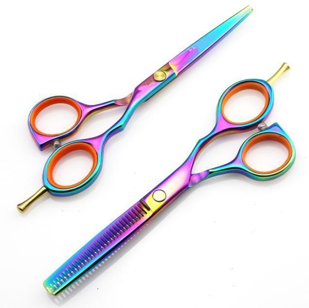 Professionnel japon 440c 5.5 pouces couleur coupe ciseaux de coiffure coupe ciseaux kit makasThinning coiffeur makas cheveux ciseaux ensemble