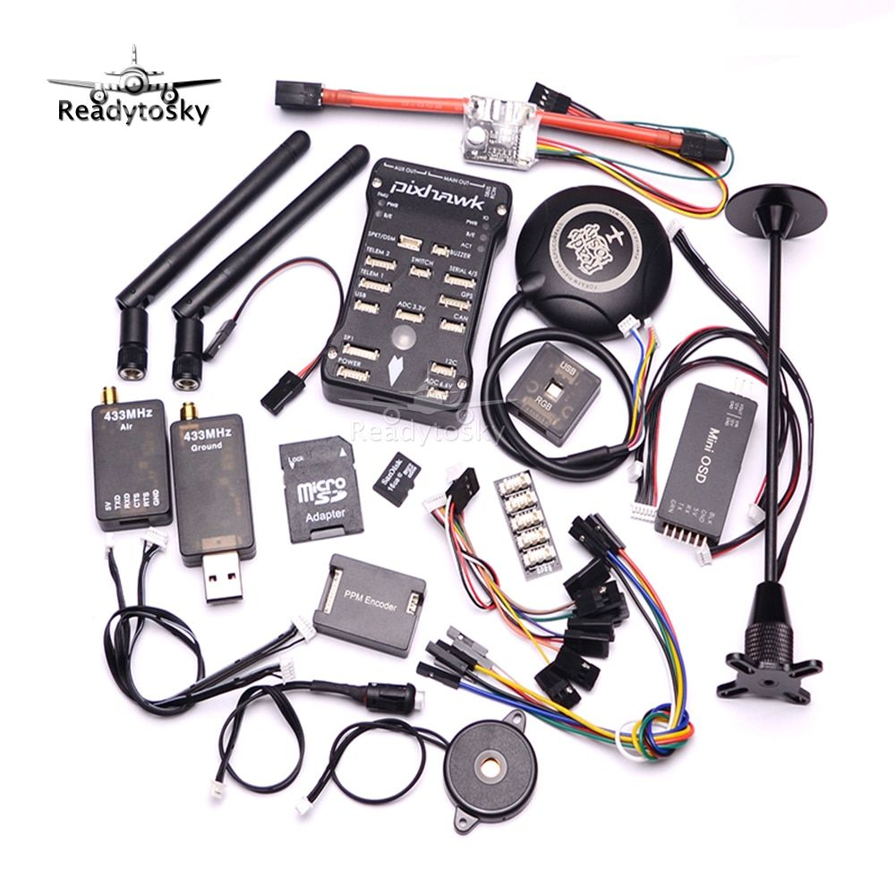 Pixhawk PX4 PIX 2.4.8 32 Bit Flight Controller+433/915 Telemetry+M8N GPS+Minim OSD+PM+Safety Switch+Buzzer+RGB+PPM+I2C