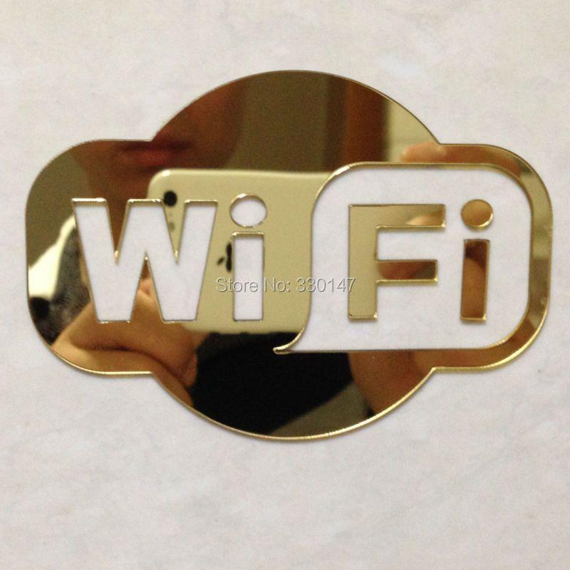 WIFI Signe Miroir Autocollant pour Porte En Verre de Café Restaurant Hôtels Place de D'affaires Acrylique Miroir Décoration