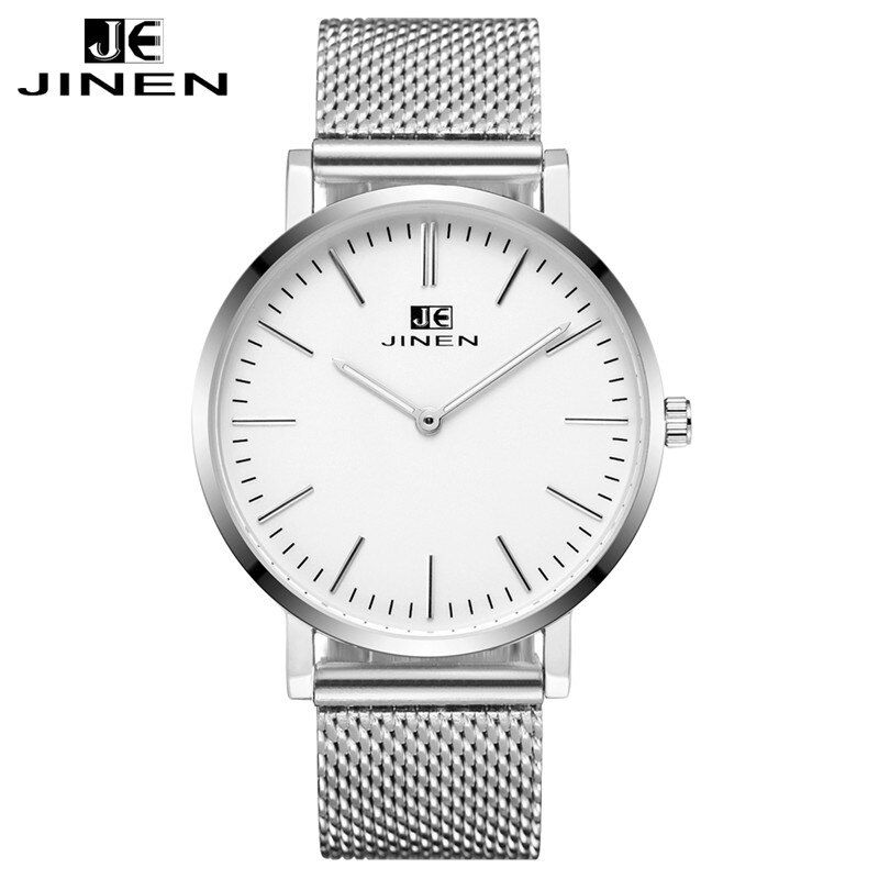 JINEN Men Fashion Leather Strap Watch Ultra-thin Case Elegant Classic Casual Luminous Analog Business Quartz Wristwatch