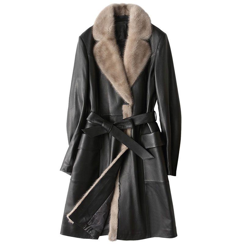 Winter Jacket Women Clothes Down Coat Genuine Leather Jacket Women Sheepskin Coat Mink Fur Collor Korean Slim Long Coat ZT533