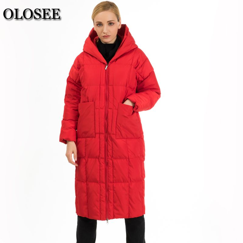2018 New Style women casual loose white duck down coat thick hooded down jacket High Street Outerwear Pockets winter coat jacket
