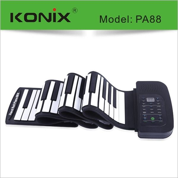 88 Key MIDI Flexible Electronic Roll Up Piano Soft Silicone Hand-rolling With Battery Pedal