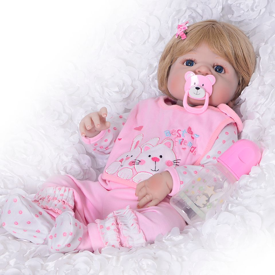 Wear Pink Bib Reborn Baby Girl Doll Full Silicone Body Realistic Lifelike Reborn Babies 23 Inch Ethnic Style Gold Hair Dolls