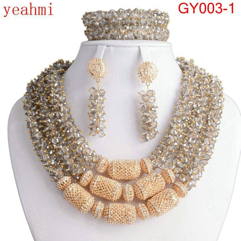 Newest african beads jewelry set 2018 nigerian wedding african beads 4 color indian multi layer necklace / Earrings women GY003