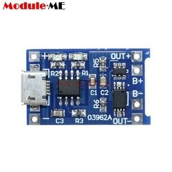 5PCS Micro USB 5V 1A 18650 TP4056 Lithium Battery Charger Module Charging Board With Dual Functions Led Indicator Power Supply