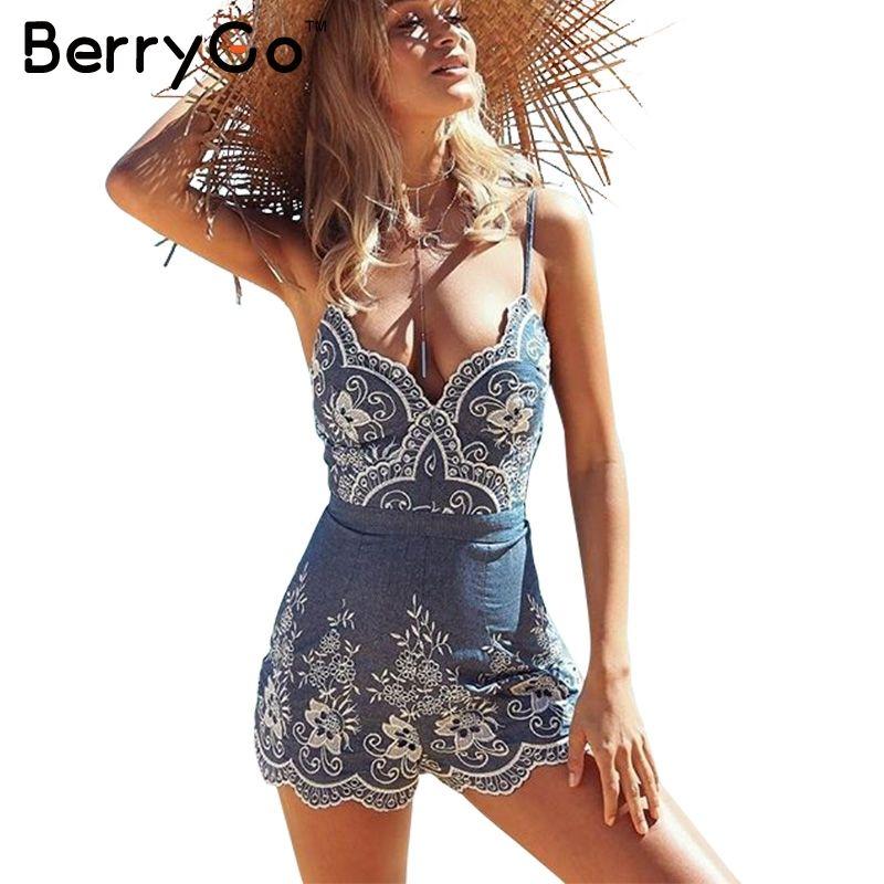 BerryGo sangle été combinaison femmes barboteuses broderie col en V zipper élégant combinaison Floral combishort 2019 sexy salopette courte