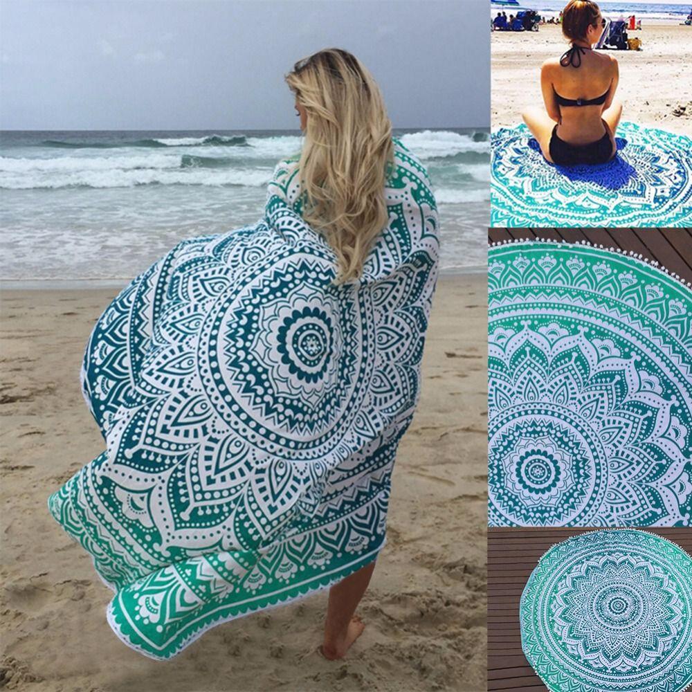 Sunbath Round Beach Towels Bohemian Style Print <font><b>Ball</b></font> Tassel Blanket Yoga Mat Women Sunbath Dress Bath Towel