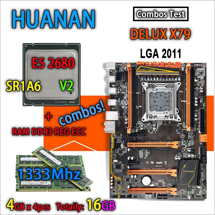 HUANAN golden Deluxe version X79 gaming motherboard LGA 2011 ATX combos E5 2680 V2 SR1A6 4 x 4G 1333Mhz 16GB DDR3 RECC Memory