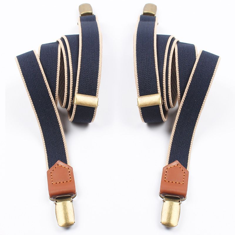 Mantieqingway Women Men Elastic Clip-on Suspenders 4 Clips Strap Leather Elastic Belt Adjustable Suspender Trousers Accessories
