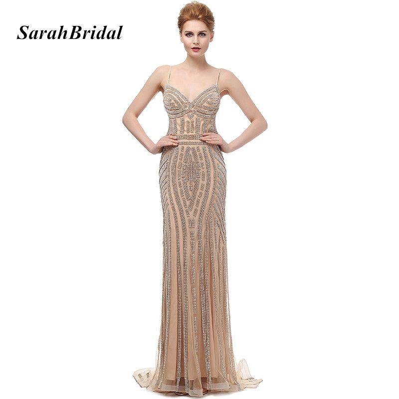 Robe De Soiree Glitter Abendkleider mit Kristallen Plus Größe Lange Champagne Brautkleider Schöne Meerjungfrau-party Kleider LX116