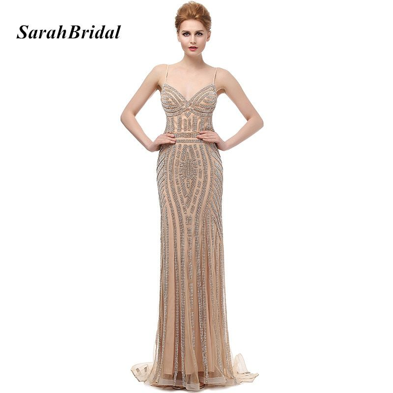 Robe De Soiree Glitter Evening Dresses with Crystals Plus Size Long Champagne Prom Dresses Beautiful Mermaid Party Gowns LX116