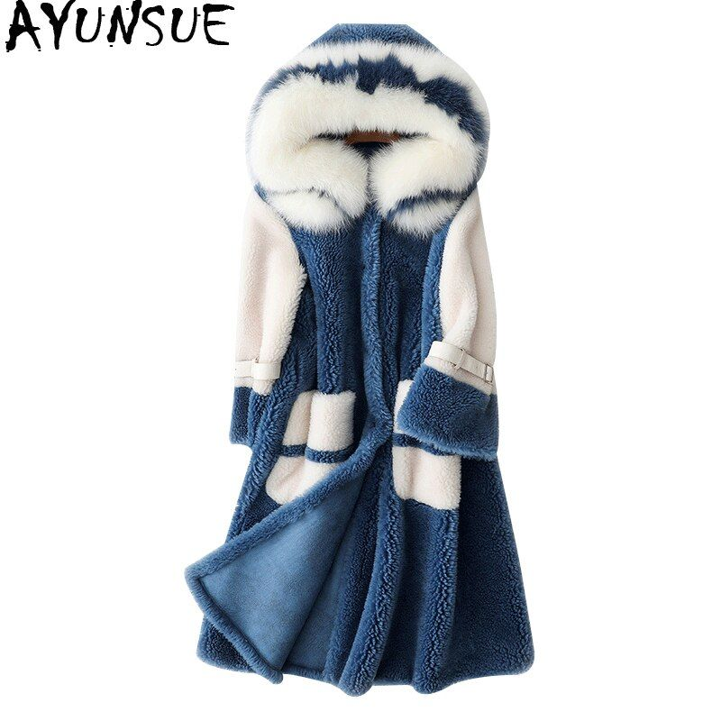 AYUNSUE Real Wool Coats With Natural Fox Fur Collar Hooded Sheep Shearing Jacket Long Winter Jackets Women's Fur Coat WYQ2077