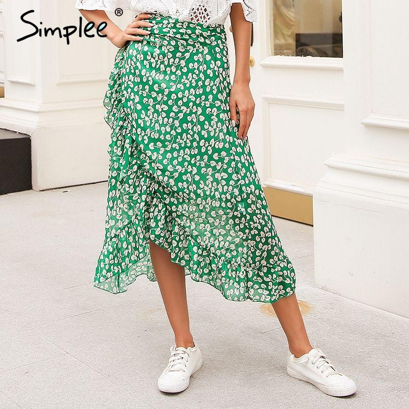 Simplee Ruffle leaf print wrap skirt women Sash tie up beach summer skirt asymmetric 2018 High waist streetwear long skirt <font><b>femme</b></font>