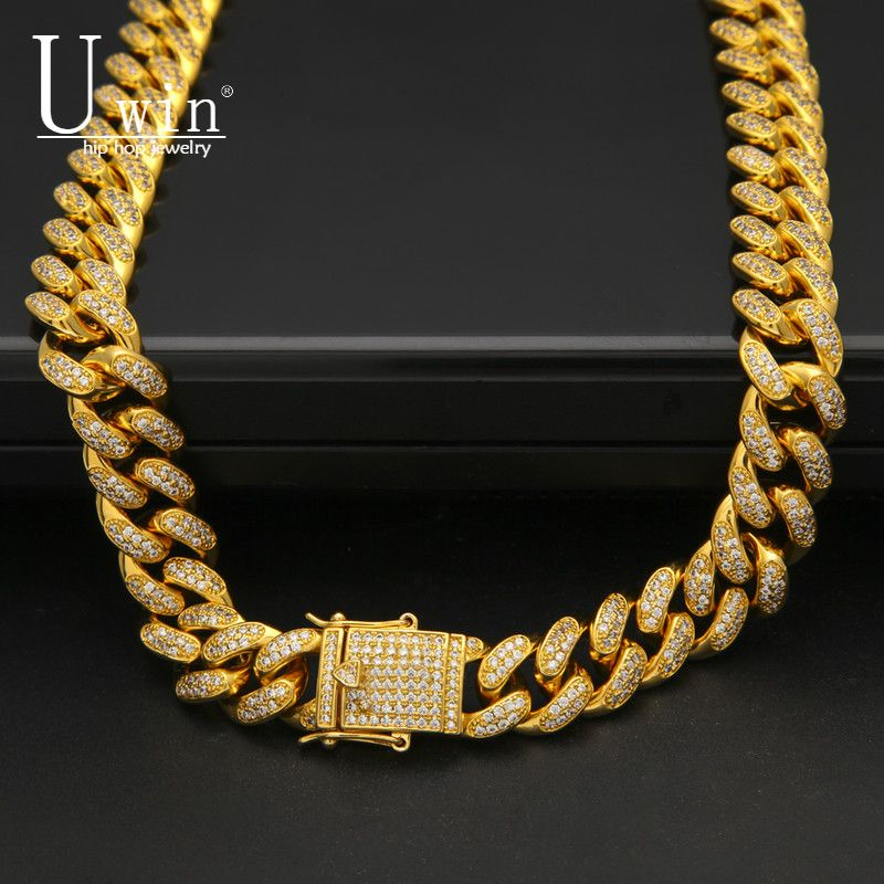 Uwin 13mm Miami Zircon Cuban Link Necklace Copper CZ Clasp Iced Out Gold Silver Hip hop Chain Men Necklace 18inch 20inch