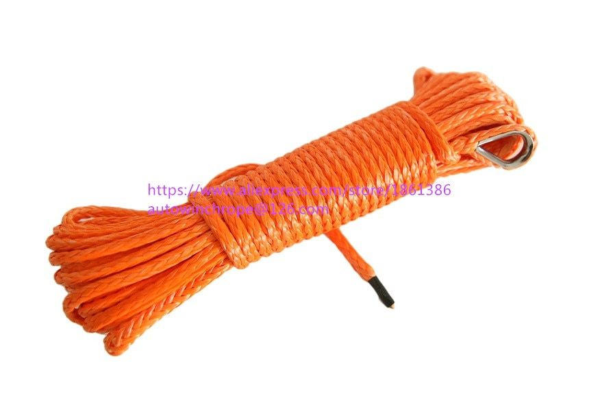 5mm*15m Orange Synthetic Winch Rope,ATV Winch Line.Off Road Rope,Kevlar Winch Cable,ATV Winch Accessories