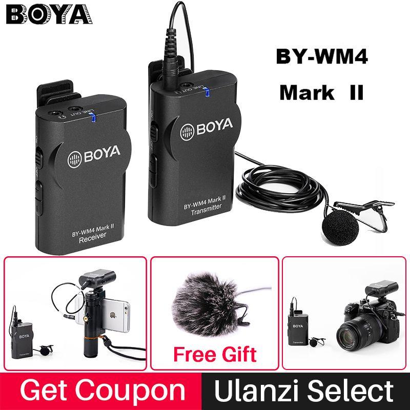 Boya BY-WM4/WM4 Mark II système de Microphone à condensateur de Studio sans fil Microphone d'entretien de revers de Lavalier pour les appareils photo Nikon de Canon d'iphone