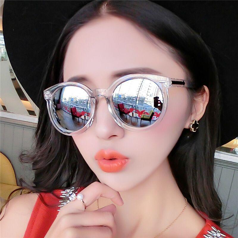 New arrow sunglasses female retro rivet round frame glasses Korean version transparent color trend sunglasses 9711