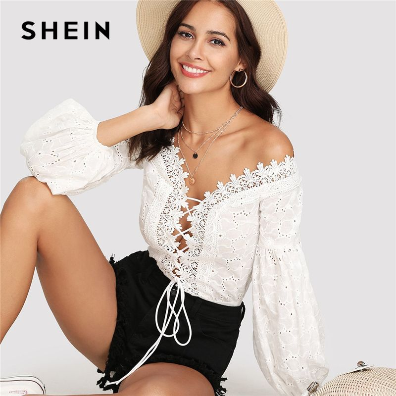 SHEIN Lace Trim Plunge Neck Eyelet Embroidered Bodysuit 2018 Summer Bishop Sleeve Deep V Neck Romper Women White Sexy Bodysuit