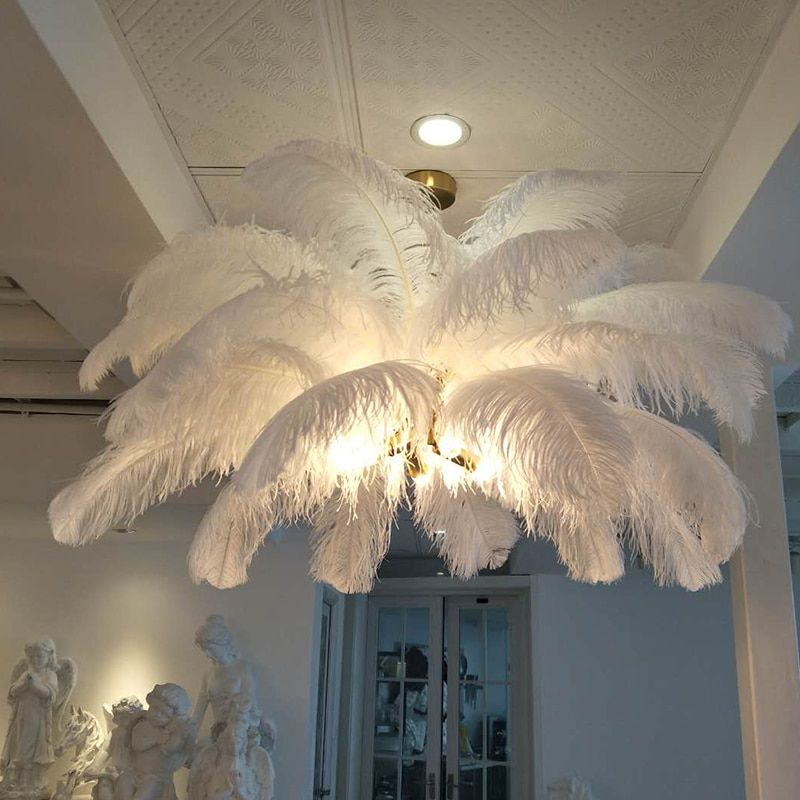 Neue feder kronleuchter kreative villa modell raum kunst wohnzimmer dekoration lampe