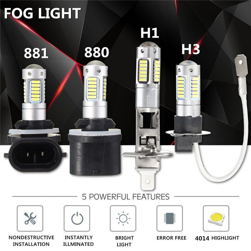 2pcs 4014 LED H27 880 881 H1 H3 Auto Car Light LED Headlights Headlamp Bulb Fog Light 6000K 12V Car Styling