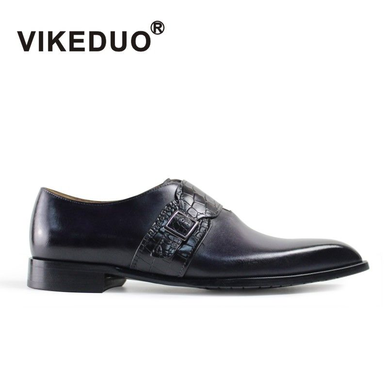 Vikeduo 2018 Handmade vintage Fashion Luxury Office Wedding Party Dance brand Male shoe Genuine Leather Men's Monk Dress Shoes
