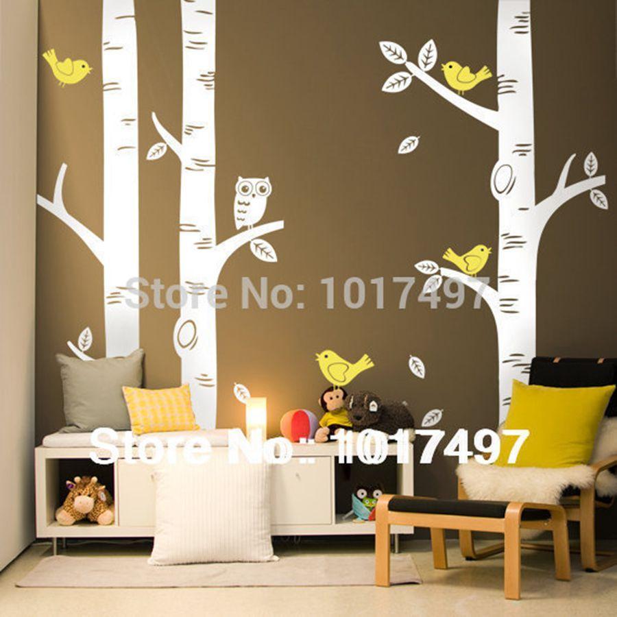 Livraison gratuite surdimensionné bouleau arbre stickers muraux pour pépinière-bébé pépinière chambre art mural vinyle décoration murale autocollants