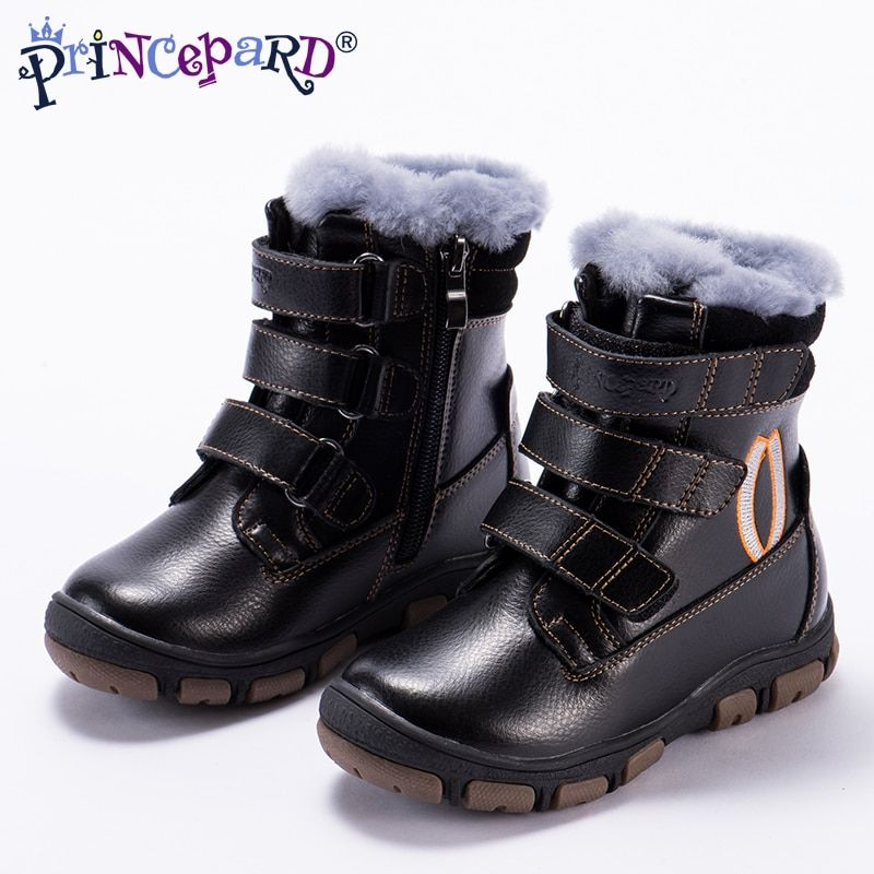 Princeprd 2018 winter children's orthopedic shoes for girls boys natural fur genuine leather Tall waist orhopedic shoes kids