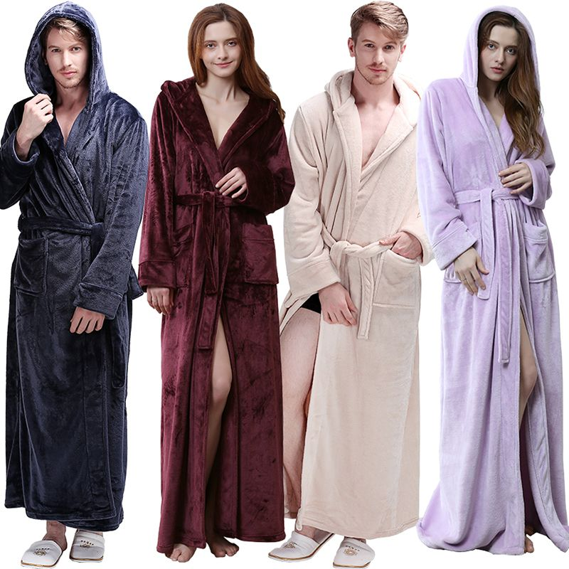Women Men Winter Hooded Extra Long Thick Warm Flannel Bath Robe Luxury Thermal Bathrobe Soft Silk Dressing Gown Bridesmaid Robes