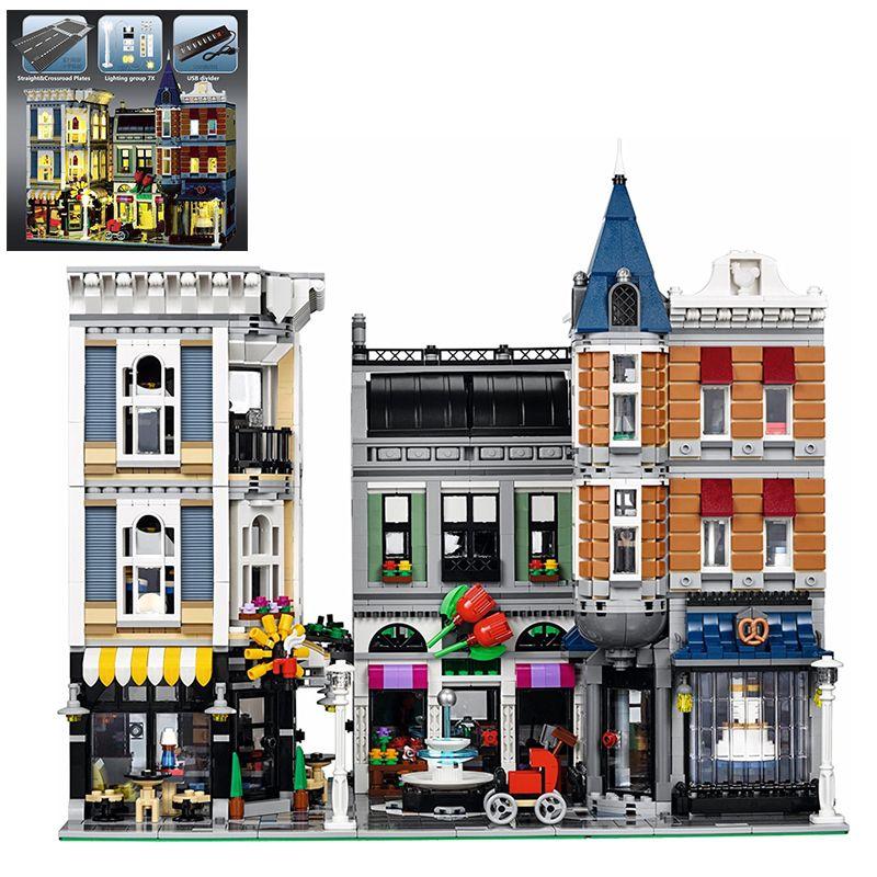 Building Blocks City Street 15019 15019B Light Assembly Square Compatible Legoed 10255 Toys Bricks Lepin Creator City Street LED