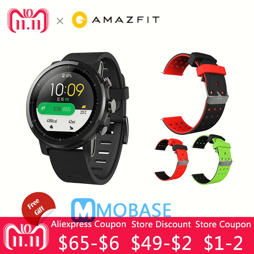 Amazfit Stratos Smart Watch 2 GPS 5ATM Water 1.34'' 2.5D Screen GPS Sports watch Firstbeat Swimming Smartwatch English Version