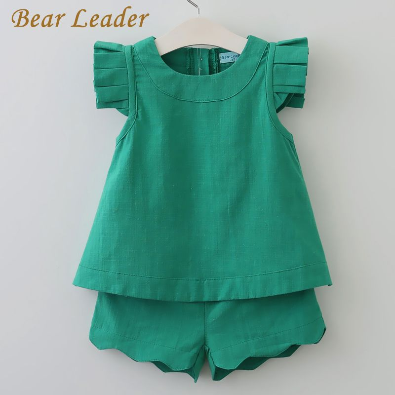 Bear Leader Girls Clothing Sets 2018 New Summer O-Neck Sleeveless T-Shirt+Pants 2 Pcs Kids Clothing Sets Children Clothing