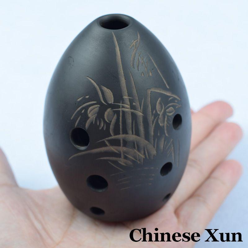 Chinois antique Xun flûte noire poterie Instruments de musique chine ethnique musique verticale vent Flauta 8 trous débutant