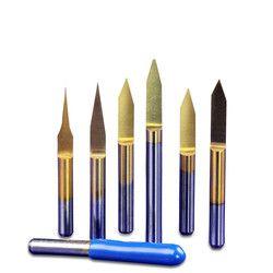 10 Pcs 3.175 Mm 30 Derajat 0.1 Mm Segitiga Sharp Pisau Titanium Baja Tungsten Pemotong Penggilingan CNC Datar Bawah End pabrik Ukiran