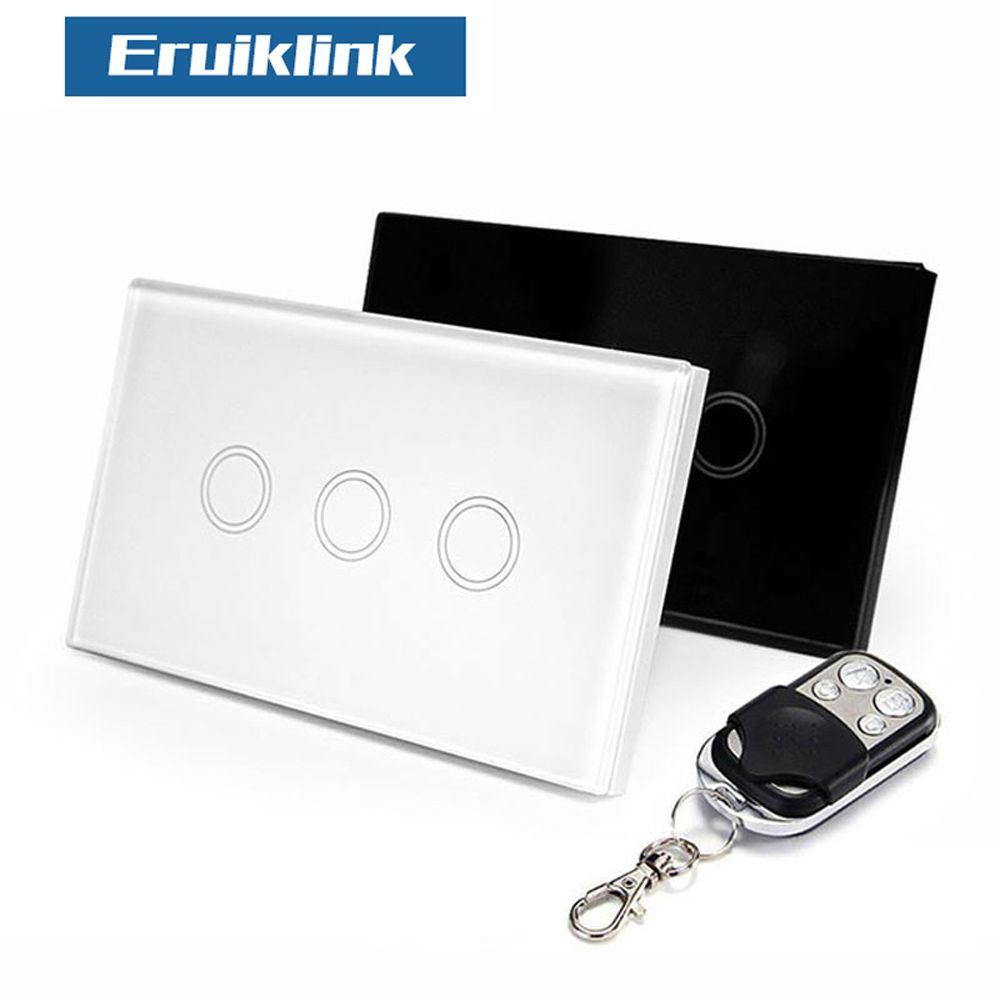 Eruiklink US Standard télécommande 3 Gang 1 voie RF433 interrupteur mural intelligent, commutateur de lumière à télécommande sans fil pour maison intelligente