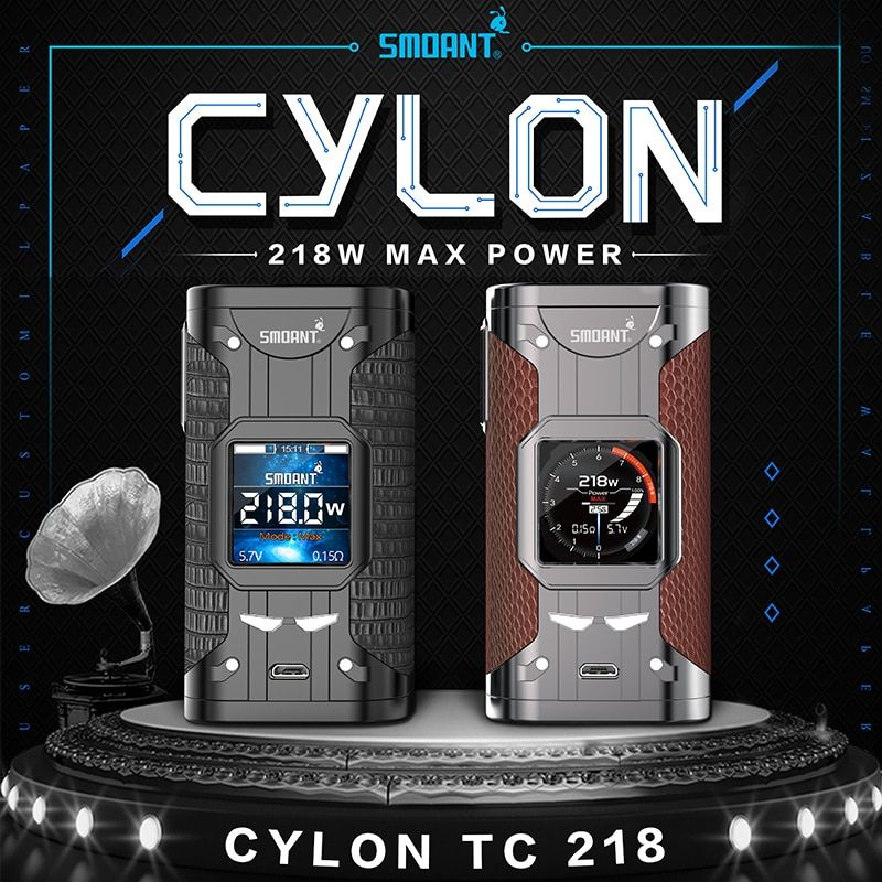 Original Smoant Cylon TC Mod 218W Variable Wattage Electronic Cigarette 510 Thread Vape Mod Vaporizer Atomizer vs Charon 218