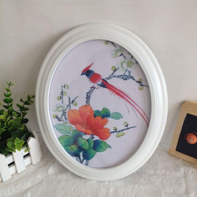 1 pc cadre Photo ovale classique décoration murale cadre Photo Ellipse blanc marron noir cadres muraux cadeau de mariage