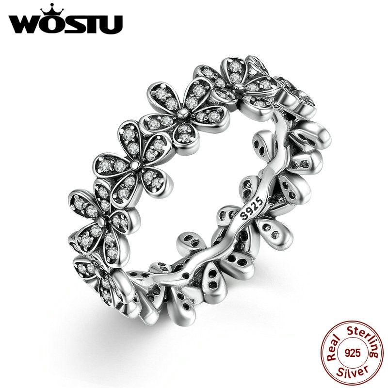 High Quality 100% 925 Sterling Silver Dazzling Daisy Meadow Stackable Ring For Women Luxury Original Jewelry Gift SDP7122