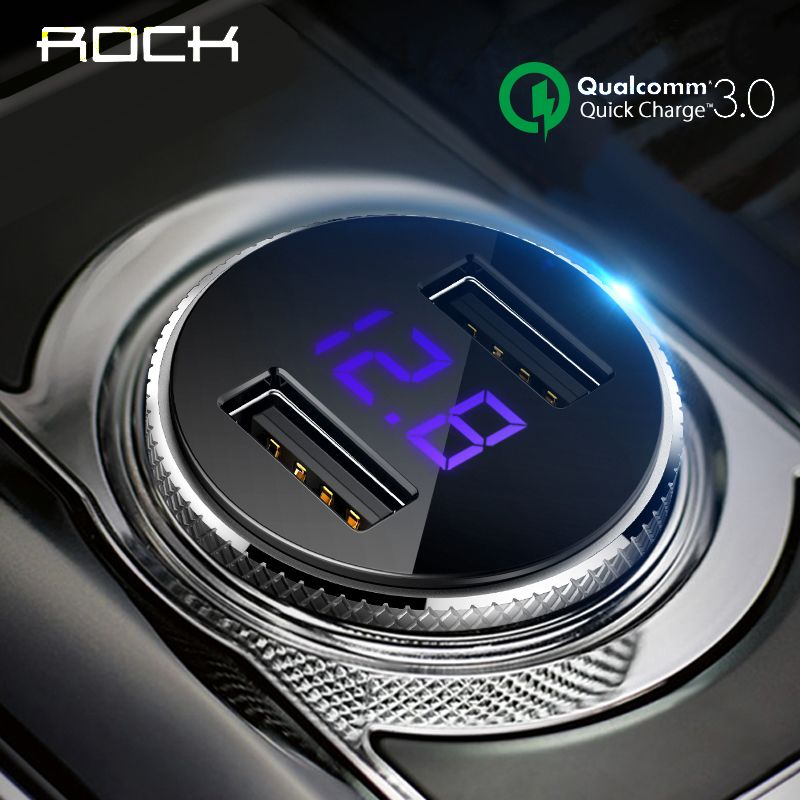 ROCK QC 3.0 Car Charger Dual USB Quick Charge For iphone X 7 8 iPad Samsung Huawei Xiaomi Fast Charging 5V 3.4A