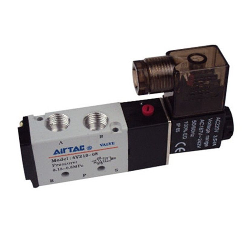 4V210-08 Бесплатная доставка 2/5 путь Пневматический электромагнитный клапан 1/4