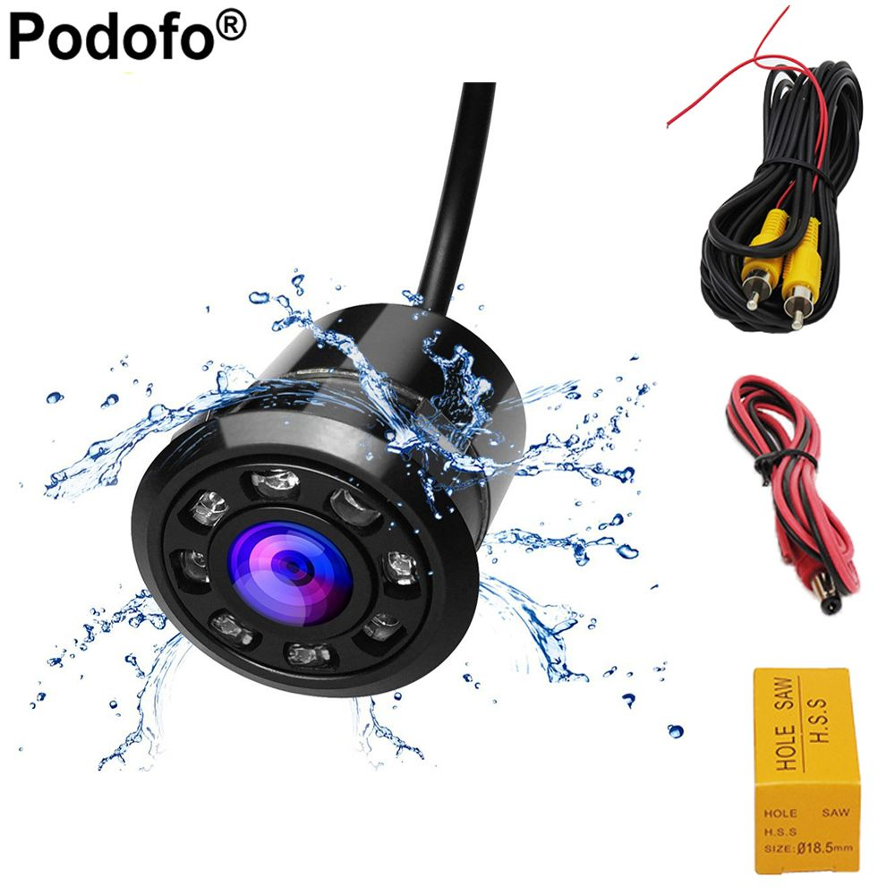 Podofo 18.5mm Car Backup Camera HD Color Reverse Rear View Cameras 8 LED Night Vision 170 Degree Mini Waterproof Color CCD Image