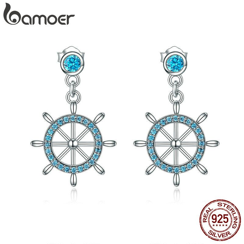 BAMOER Real 100% 925 Sterling Silver Sailing Dream Blue CZ Anchor Drop Earrings for Women Fashion Silver Jewelry S925 SCE310
