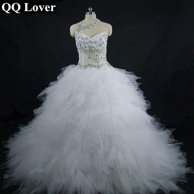 QQ Lover 2018 Amazing Halter Luxury Beaded Cut-out Royal Train Empire Wedding Dresses Custom-made Plus Size Vestido De Novia