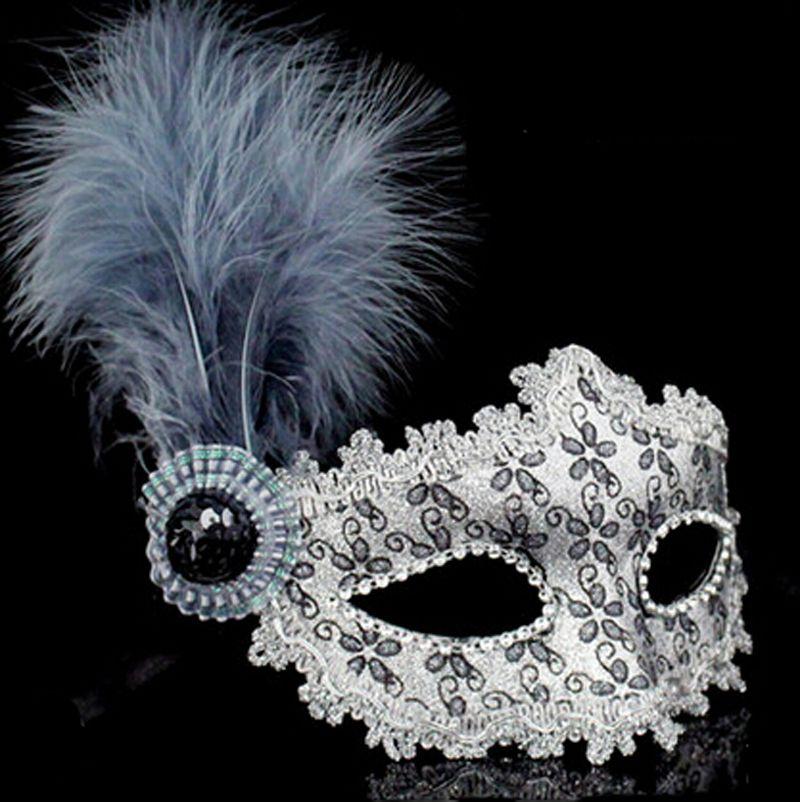 Straußen Leder Feder Pulver Plume Maske Venedig Prinzessin Maske Elegante Maskerade Maske Großen Plume Hochzeit Dekoration Halloween