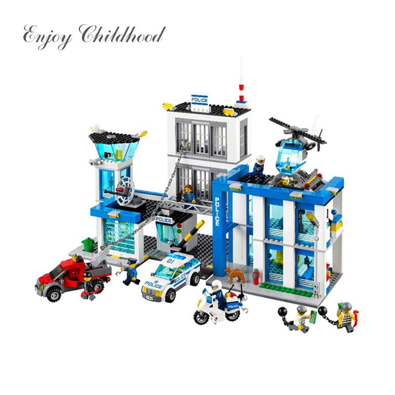 Juguetes Educativos 890Pcs 10424 City Police Station Building Blocks Action Figures Set Helicopter Jail Cell Bringuedos Legoings